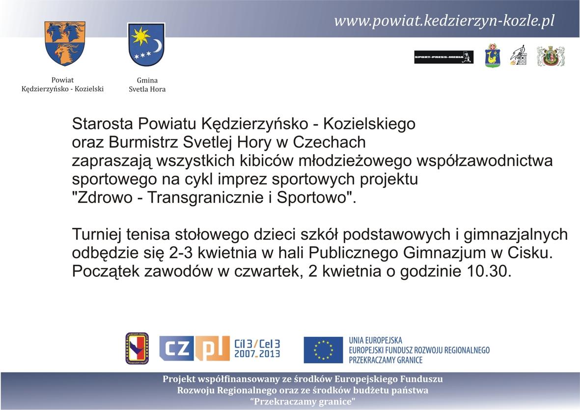 Turniej tenisa stołowego w Cisku już w dniach 2-3 kwietnia 2009. Zapraszamy