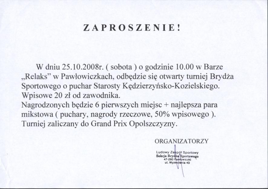 Zaproszenie na otwarty turniej Brydża Sportowego o puchar Starosty Kędzierzyńsko - Kozielskiego