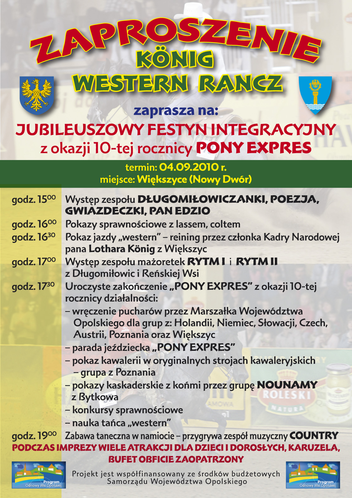 Plakat Jubileuszowego Festynu Integracyjnego Pony Expres