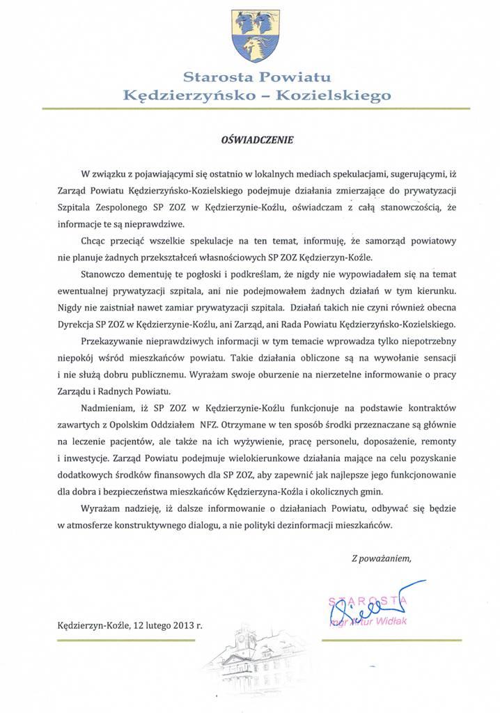 OŚWIADCZENIE STAROSTY ARTURA WIDŁAKA W SPRAWIE SP ZOZ_12.02.2013.jpeg