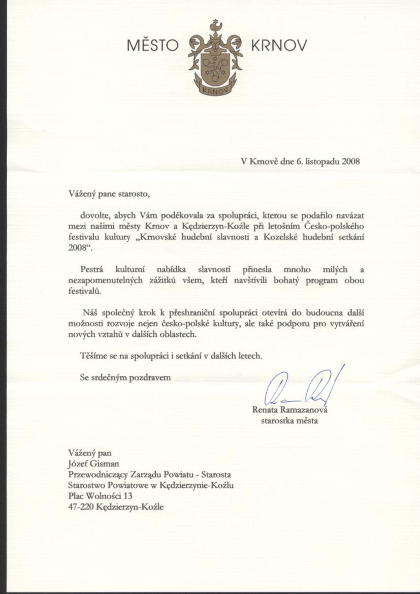 Podziękowanie z Miasta Krnov