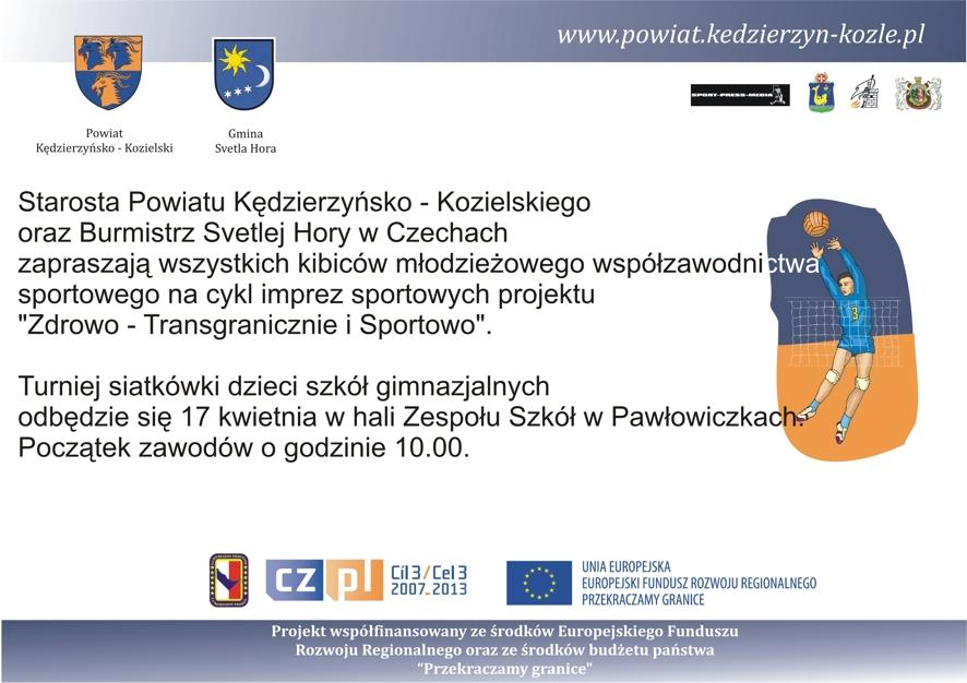Zapraszamy na turniej siatkówki w ramach projektu Zdrowo - transgranicznie i sportowo
